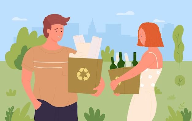 クリーンヘルプ自然環境を保護する幸せな十代の人々のボランティアが都市公園を掃除