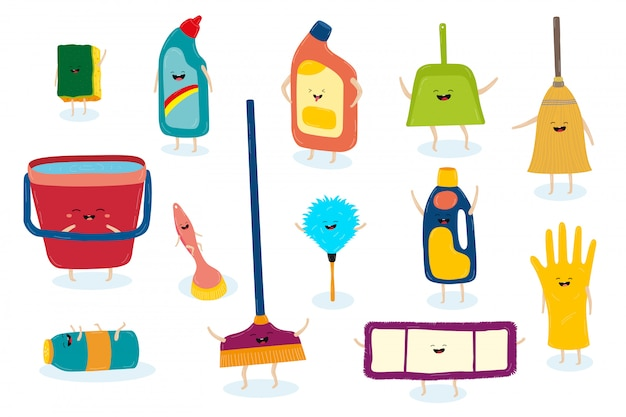 Clean helpers cartoon character set for keeping house hygiene illustration.