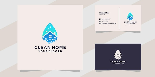 Clean home logo and business card template