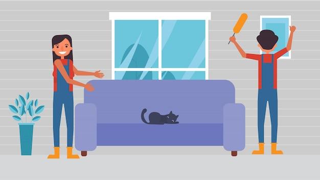 Чистый дом любители хобби мероприятия пары проводят вместе