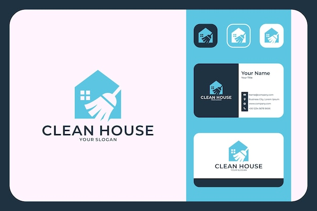 Clean house with broom logo design and business card
