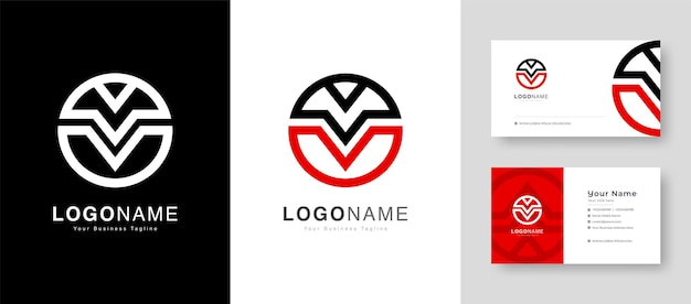 Clean initial victory sign initial v logo with premium business card vector illustration