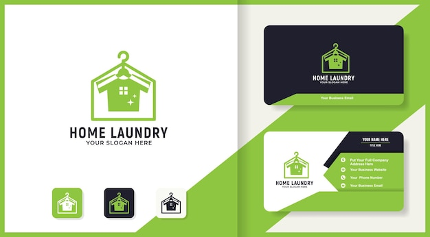 Clean laundry house logo design and business card