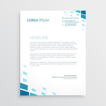 Clean letterhead design with abstract blue shapes