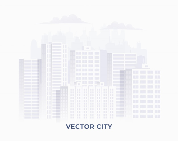 Чистый свет белого цвета силуэт города на белом фоне. городская иллюстрация городского пейзажа для знамени или infographic. иллюстрации.