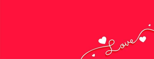 Clean love banner for valentines day design