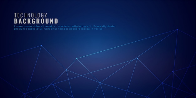 Clean low poly network lines technology background