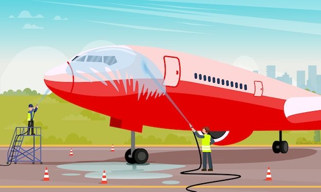 Clean and maintenance aircraft flat illustration.
