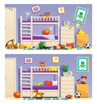 Clean and messy children room set of banners with furniture and interior objects isolated