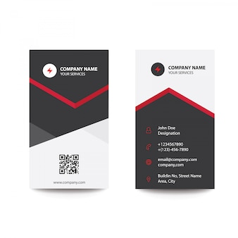 Clean Minimal Black and Red Business Visiting Card