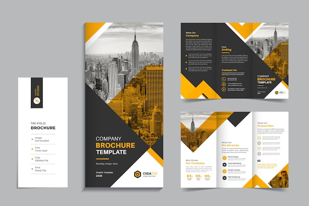 Clean and minimal corporate trifold business brochure design template