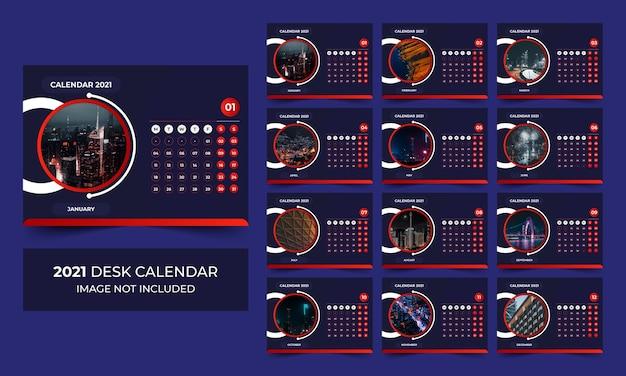 Clean and minimal desk calendar 2021