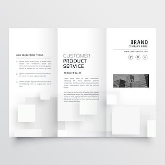 Clean minimal white trifold brochure design template