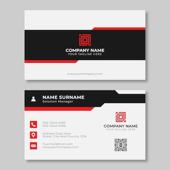 Clean and minimalist business card with red and black colors Premium Vector