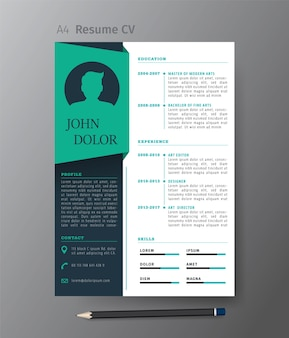 이력서 또는 이력서, 벡터 일러스트 레이 션의 깨끗 한 현대적인 디자인 서식 파일