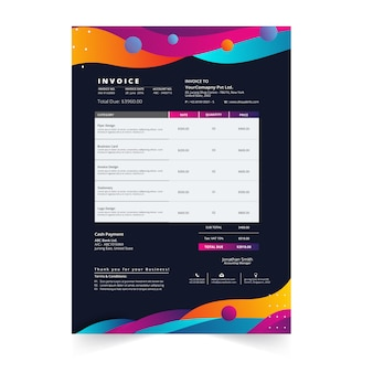 Clean modern invoice business template