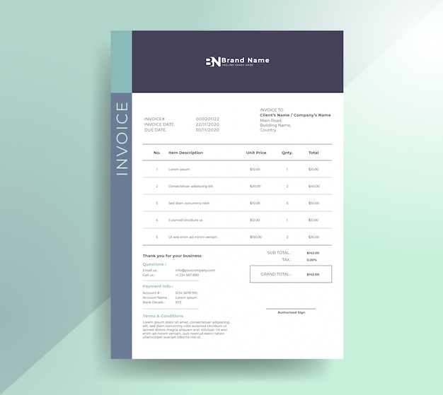 Clean modern invoice template