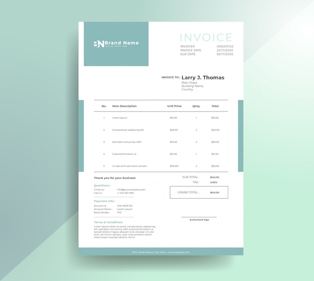 Clean modern payment invoice template