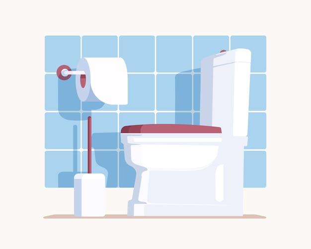 흰색 세라믹 변기, 종이 및 브러시로 현대식 화장실을 청소하십시오. 벽에 파란색 타일이있는 화장실. 플랫 스타일.
