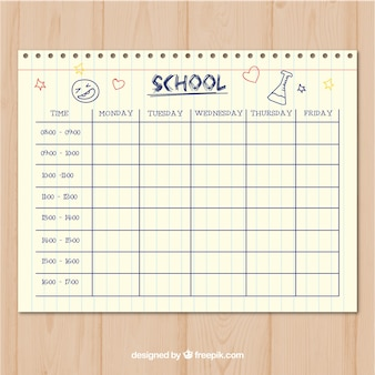 Clean paper style school timetable template