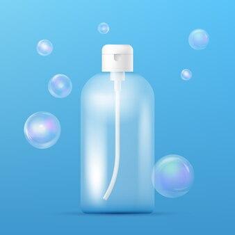 샴푸 디스펜서가있는 깨끗한 플라스틱 병 템플릿