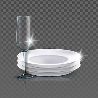 Чистые тарелки и стакан посуды вектор. промытые пустые керамические тарелки и бокал. кухонная утварь для еды, еды и напитков шаблон реалистичные 3d иллюстрации
