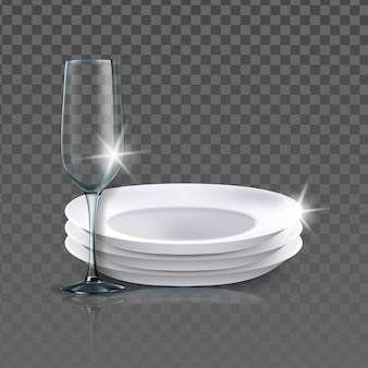 Clean plates and wineglass kitchenware vector. washed blank ceramic plates and wine glass. kitchen utensil for eating meal food and drinking beverage template realistic 3d illustration