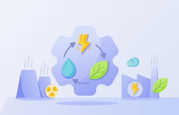 청정 전력 산업 개념 드롭 물 잎 번개
