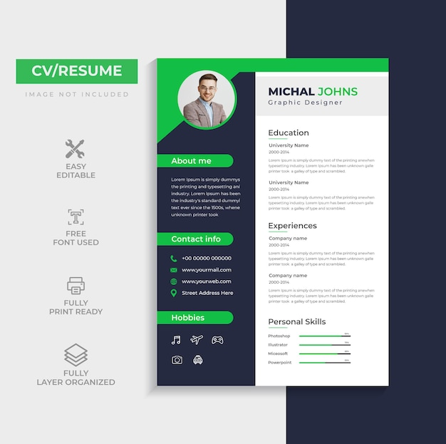 Clean professional cv or resume template