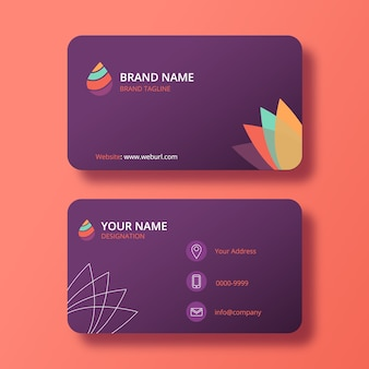 Clean purple business card with minimal logo