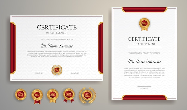 Clean red and gold certificate border template with gold badges
