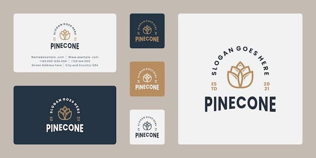 Clean retro pine cone logo design vector with business card template