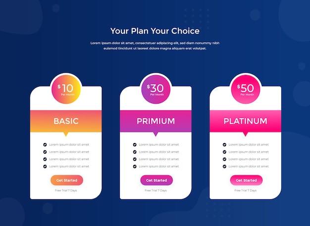 웹사이트에 대한 깨끗한 간단한 가격표 템플릿 무료 벡터