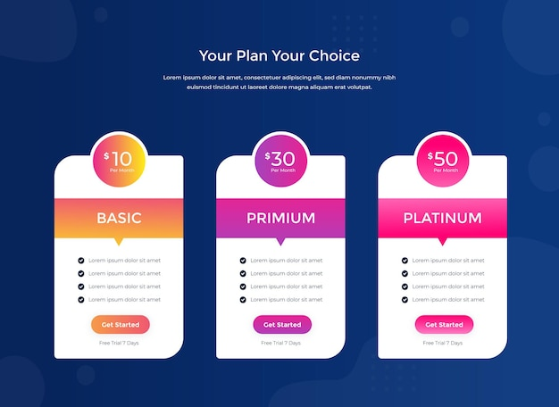 Clean simple pricing table template for website free vector
