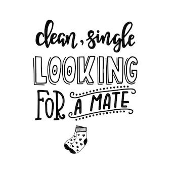 Чистый сингл ищет помощника. ручной обращается типографский плакат. концептуальная рукописная фраза