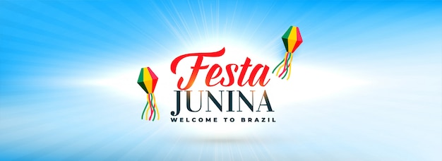 Clean sky with festa junina decorative lamps banner