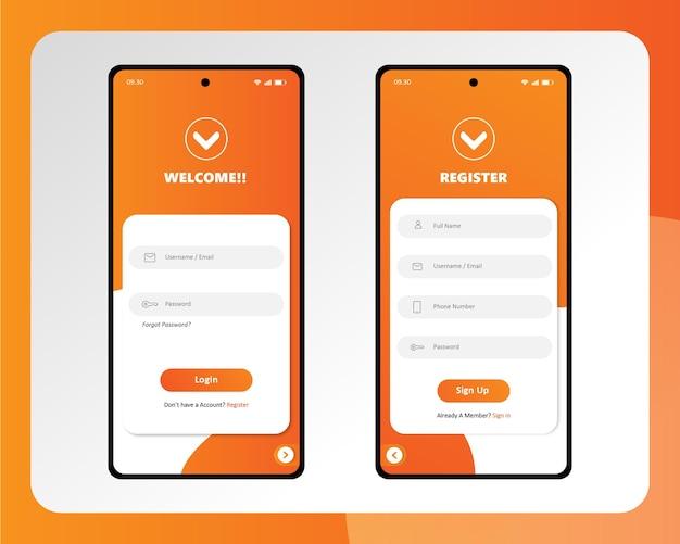 깨끗한 스마트폰 사용자 인터페이스 앱 로그인 페이지 디자인 premium vector