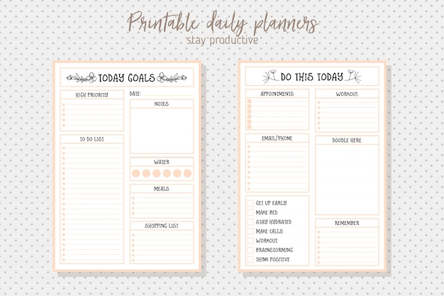 Clean style daily planner vector template. stationery design