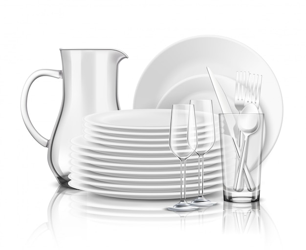 Clean tableware realistic design concept with stack of white plates glass jug and wine glasses illustration