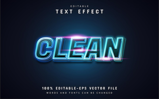 Clean text, blue neon style text effect
