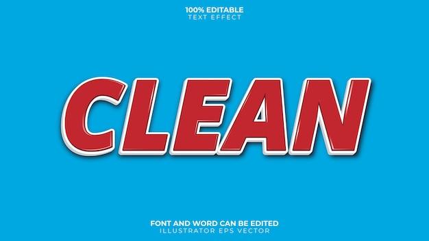Clean text effect full editable 3 dimension