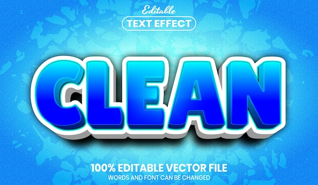 Clean text, font style editable text effect