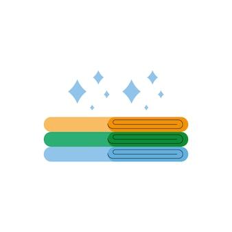 Чистые полотенца сложенные изолированные значок
