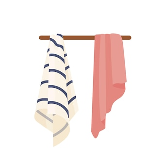 Clean towels vector illustrations. dry soft towels hanging on hanger. domestic hygiene accessories, bath, shower attributes. striped and pink hand towels isolated on white background.