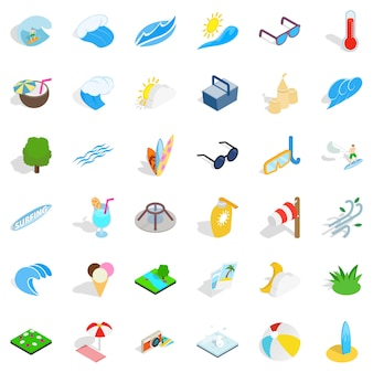 Clean water icons set, isometric style
