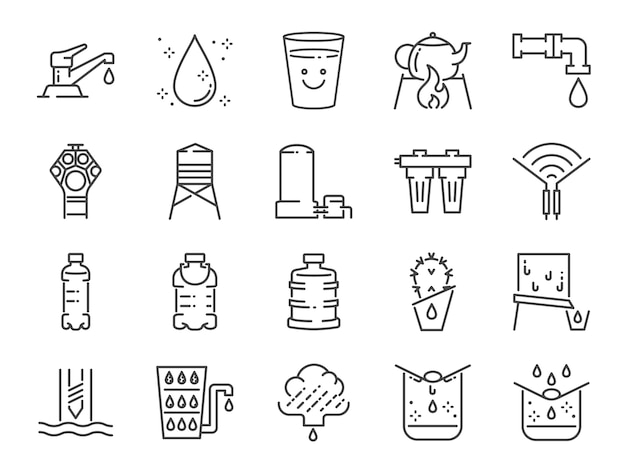 Clean water line icon set.