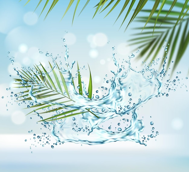 Clean water splash and palm leaves background. liquid wave swirl with drops, vector splashing aqua dynamic motion with green palm tree leaf and spray droplets. wallpaper or cosmetics design