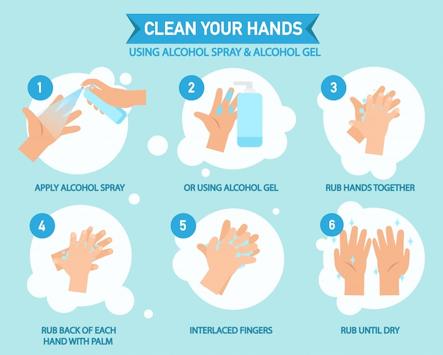 Clean your hands, using alcohol spray and alcohol gel infographic ,vector illustration.