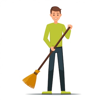 Cleaner boy is holding a broom.