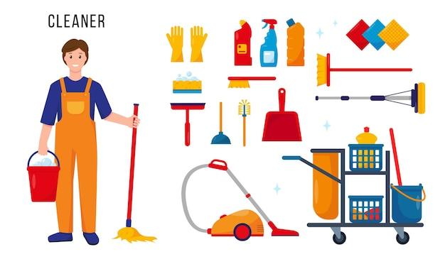 Чистильщик и набор чистящих инструментов и принадлежностей для работы